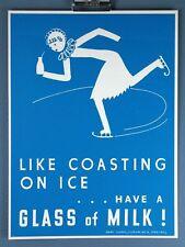 Ice Skate Dairy Council's Vintage MILK silkscreen Print