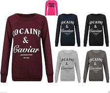 Womens Ladies Cocaine And Caviar Print Jumper Pullover Sweatshirt Top T-shirt