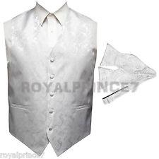 WHITE XS to 6XL Paisley Tuxedo Suit Vest Waistcoat & Self tie Bow tie Wedding