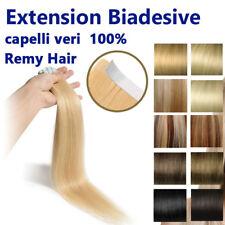 10 ciocche 25 GRAMMI EXTENSION BIADESIVE REMY HAIR capelli umani VERI 100% 53cm