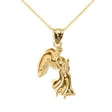 10k Yellow Gold Praying Angel Wing Pendant Necklace