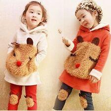 Girls Panda Winter Christmas Autumn Kids Children Fleece Outfit Set Grey Red