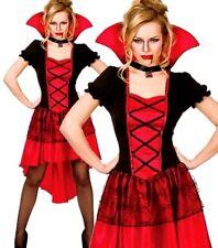Ladies RED GLAMOROUS VAMP Halloween Vampiress Fancy Dress Costume UK Size 6-24