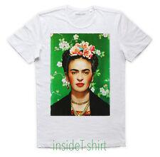 MAGLIETTA FRIDA KAHLO maglia naif copertina art Vogue cover flowers T-SHIRT MAN