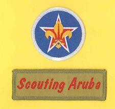 SCOUTS OF ARUBA - Scout Membership Rank Award & Strip Emblem Patch SET
