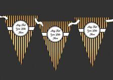 Black And Gold Elegant Stripes Personalised Wedding Venue or Reception Bunting