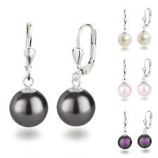 925 Silber Ohrringe mit 10mm runden Swarovski® Pearls Perlen Ohrhänger Farbwahl