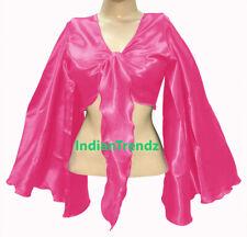 Deep Pink - Satin Tie Top Belly Dance Flair Wrap Choli Gypsy Haut Danse Blouse