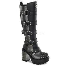 Demonia Sinister 302 Ladies Black Goth Punk Lolita Block Heel Boots