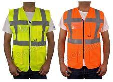 HiVis High Visibility Executive Work/Safety Zip Vest Pocket waistcoat Size S-4XL