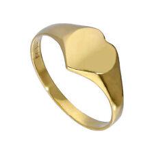 Real 375 9 CT dorado Engravable adolescente corazón Signet Anillo Tamaño F-M Personalizar