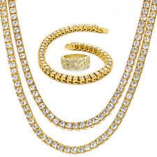 "14K Gold Plated Hip Hop (2) 20""/24"" 1 Row Chain & Bracelet w/ Cz Cuban Link Ring"