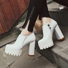 Womens Block High Heels Platform Zipper Roman Oxfors Solid Loafers Shoes 35-43