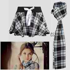 Ladies Women Full Circular Tartan Mini Bow Skirt With Matching Scarf-Fancy Dress