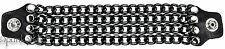 4 row Black Chain Extension Black Leather Biker Vest Extender