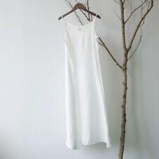 Women Silk Cotton Camisole Long Dress Tank Tops Sheer Thin Summer Undershirts
