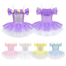 Girls Off Shoulder Flower Ballet Tutu Dress Dance Gymnastics Ballerina Costume