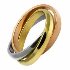 Ring Tricolor 3 Ringe aus Edelstahl ineinander verschlungen rosé gold silber