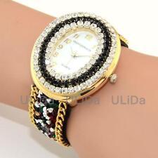 New Numerals Oval Dial Rhinestone Wristband Crystals Women Quartz Dress Watches