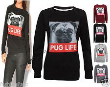 NUOVO donna Pug Life Maniche Lunghe Donne Ragazze In Pile Felpa Maglione Top 8-14