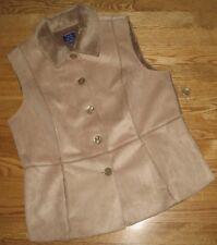 TABI Dressy Vest Faux Suede Plush Lined Beige Tan Career Women's Medium NEW