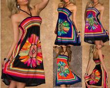 Sexy 8-18 Womens Flower Print Bandeau Dress Sexy Summer Beach Sundress Long Tops
