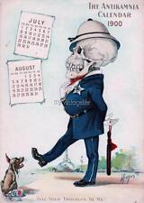 Police Antikamnia Calendar Skeleton Skull Vintage Quilting Fabric Block