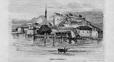 Stampa antica Veduta di MODONE Peloponneso Grecia 1840 Old Print Greece