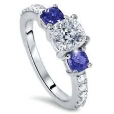 G SI 3.25ct Cushion Diamond & Treated Blue Sapphire Engagement Ring 14k Enhanced