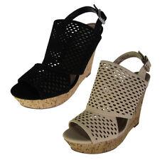 Steve Madden Womens Exhibit Slingback Platform Wedge Shoes