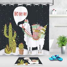 "Christmas Alpaca Cactus Polyester Fabric Shower Curtain Liner Bathroom Set 72"""