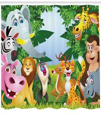 Nursery Shower Curtain Safari Jungle Funny Print for Bathroom