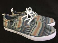 Sanuk Guide Plus Funk Lace Up Shoes Sneakers Blue Vintage Denim Stripes 9 Men's