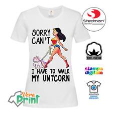 T-Shirt Maglia Maglietta Wonder Woman Unicorn Donna Ragazza Bambina Idea Regalo