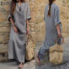 HOT Plus Size Womens Kaftan Long Sleeve Pinstriped Cotton Maxi Long Dress Tunic