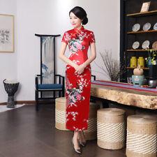 Red,Sexy Chinese women's traditional silk/Satin long dress cheongsam :Size:S