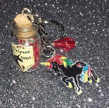 Gothic Unicorn Tears Bottle Keyring, Blood red Tear Charm/ Black Unicorn/ Magic