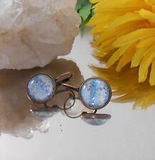 Ohrhänger Blau gestreift mit Flitter Glitzer / Cabochon 14 mm  / handgefertigt