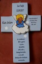 Taufkreuz SCHUTZENGEL Geschenk zur Taufe Geburt Holz KINDERKREUZ Kreuz Baby Name