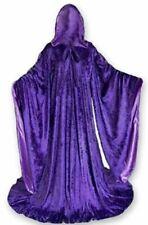 Purpl Robe Velvet Wizard Sleeves Cloak Lined Halloween Hooded Medieval Satin