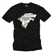 Winter is Coming Stark T-Shirt Herren GAME OF THRONES Wolf Khaleesi Dragon Snow