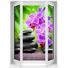 Sticker mural Fenêtre trompe l'oeil Galets et Orchidée Zen 5367 5367