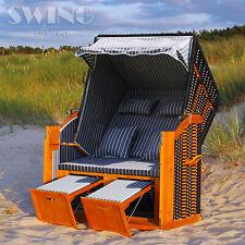 Luxus Strandkorb XXL Ostsee Volllieger Sonneninsel Rattan Möbel Gartenliege