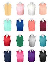 BOY'S Dress Vest and Boys NeckTie Solid Color Neck Tie Set for Suit or Tuxedo