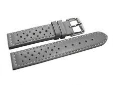 Bracelet montre - cuir de veau perforé - surpiqué - gris - 16,18,20,22 mm NEUF