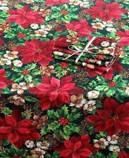 WINTER GARDEN any size $24.99 shipped Tablecloth Poinsettia Holly Christmas NIP