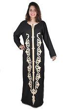 Abaya Festkleid mit Stick-Bordüren im Islamischen Stile in schwarz - ABY00160