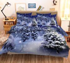 3D White Snow Pine Trees 6 Bed Pillowcases Quilt Duvet Cover Set Single Queen CA