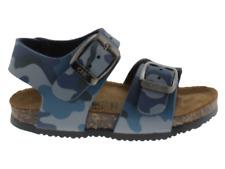 Sandalo bambino Biochic camouflage azzurro in pelle con chiusura a fibbie