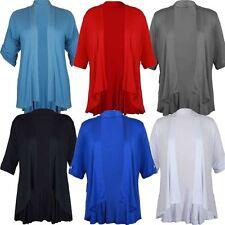 Ladies Turn Up 3/4 Sleeve Cardigan Plus Size Boyfriend Waterfall Swing Top 14-28